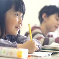 勉強をする小学生の横顔