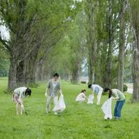 ボランティア活動をする大学生