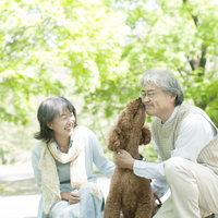 ペットの犬と戯れるシニア夫婦