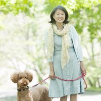 犬の散歩をするシニア女性