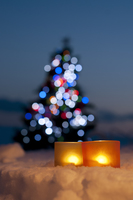 キャンドルとクリスマスツリー