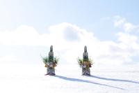 雪原の上の門松