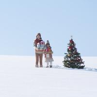たくさんのプレゼントを抱える親子とクリスマスツリー 20027009846| 写真素材・ストックフォト・画像・イラスト素材|アマナイメージズ