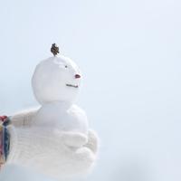 雪だるまを持つ女性の手元