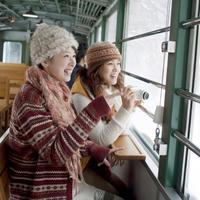 列車の窓から景色を眺める2人の女性