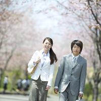 桜並木道を歩くビジネスマンとビジネスウーマン