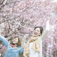 桜の前で両手を広げる2人の女性