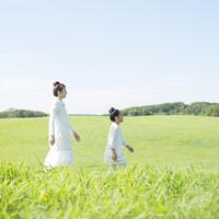 草原を歩く親子 20027010142| 写真素材・ストックフォト・画像・イラスト素材|アマナイメージズ