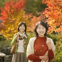紅葉を眺める2人のシニア女性