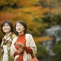 紅葉を眺める2人のシニア女性 20027010320| 写真素材・ストックフォト・画像・イラスト素材|アマナイメージズ