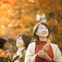 紅葉を眺める2人のシニア女性 20027010325| 写真素材・ストックフォト・画像・イラスト素材|アマナイメージズ
