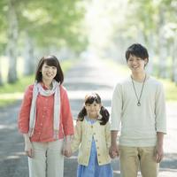 白樺並木で手をつなぐ家族