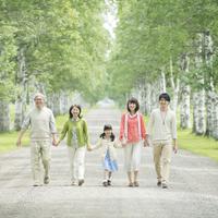 白樺並木で手をつなぐ3世代家族