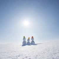 家族の雪だるま 20027010550| 写真素材・ストックフォト・画像・イラスト素材|アマナイメージズ