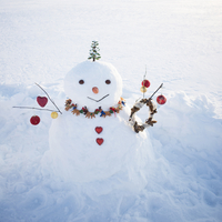 クリスマスグッズで飾った雪だるま