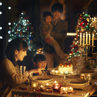 クリスマスパーティーをする家族 20027010618| 写真素材・ストックフォト・画像・イラスト素材|アマナイメージズ