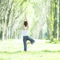 ポプラ並木でヨガをする女性の後姿