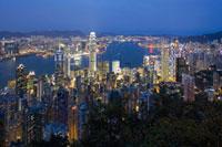 Skyline of Hong Kong Victoria Harbour at dusk