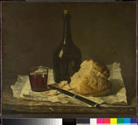 Still Life with Bottle,Glass and Loaf