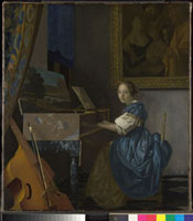 A Young Woman seated at a Virginal