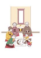 福笑いをして遊ぶ子供たちと両親祖父母