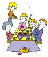 正月料理を囲む3世代家族 20037000014| 写真素材・ストックフォト・画像・イラスト素材|アマナイメージズ