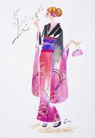 振袖姿の女性 初詣 20037000017  写真素材・ストックフォト・画像・イラスト素材 アマナイメージズ