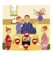 おせち料理を囲む家族4人