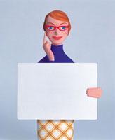 知的な女性とメッセージボード