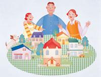 家族とマイホーム 20037000415| 写真素材・ストックフォト・画像・イラスト素材|アマナイメージズ