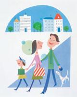 ショッピングの親子連れ 20037000429| 写真素材・ストックフォト・画像・イラスト素材|アマナイメージズ