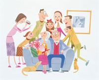 おじいちゃん、おばあちゃんを囲む家族 20037000442| 写真素材・ストックフォト・画像・イラスト素材|アマナイメージズ