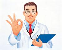 笑顔でOKサインの医師