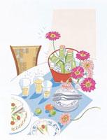 食卓と花 20037000506| 写真素材・ストックフォト・画像・イラスト素材|アマナイメージズ