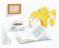 テーブルの上のお茶と花 20037000509| 写真素材・ストックフォト・画像・イラスト素材|アマナイメージズ