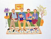 ソファーに腰かける二世帯家族
