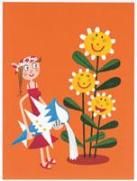 ひまわりと女性 20037000570| 写真素材・ストックフォト・画像・イラスト素材|アマナイメージズ