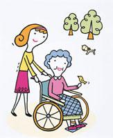 車椅子の母親の介護をする女性