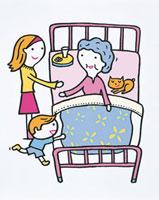 祖母を看病する子供たち