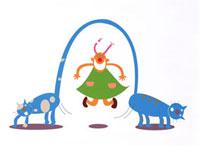 ネコの尻尾で縄跳びする少女 20037000865| 写真素材・ストックフォト・画像・イラスト素材|アマナイメージズ