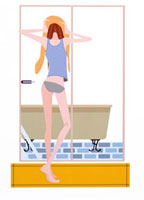 風呂上りの女性