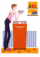 洗濯をする女性 20037000869  写真素材・ストックフォト・画像・イラスト素材 アマナイメージズ