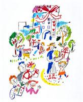 人々とプレゼント 20037000902| 写真素材・ストックフォト・画像・イラスト素材|アマナイメージズ