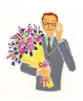 花束を抱えた男性