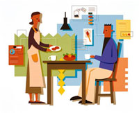 食卓の夫婦 20037000945  写真素材・ストックフォト・画像・イラスト素材 アマナイメージズ