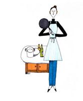 フライパンを持つ女性