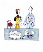 食器を拭く夫婦