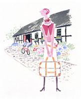 旅行かばんを持つ女性
