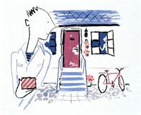 プレゼントを持って玄関前に立つ男性 20037000999| 写真素材・ストックフォト・画像・イラスト素材|アマナイメージズ