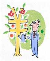 円マークに咲く花とビジネスマン